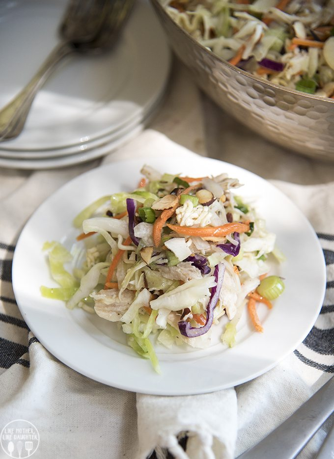 Ramen noodle salad isquick and easy to make. The crunchy salad is covered in a flavorful dressing and is perfect served at a picnic, potluck, or barbecue!