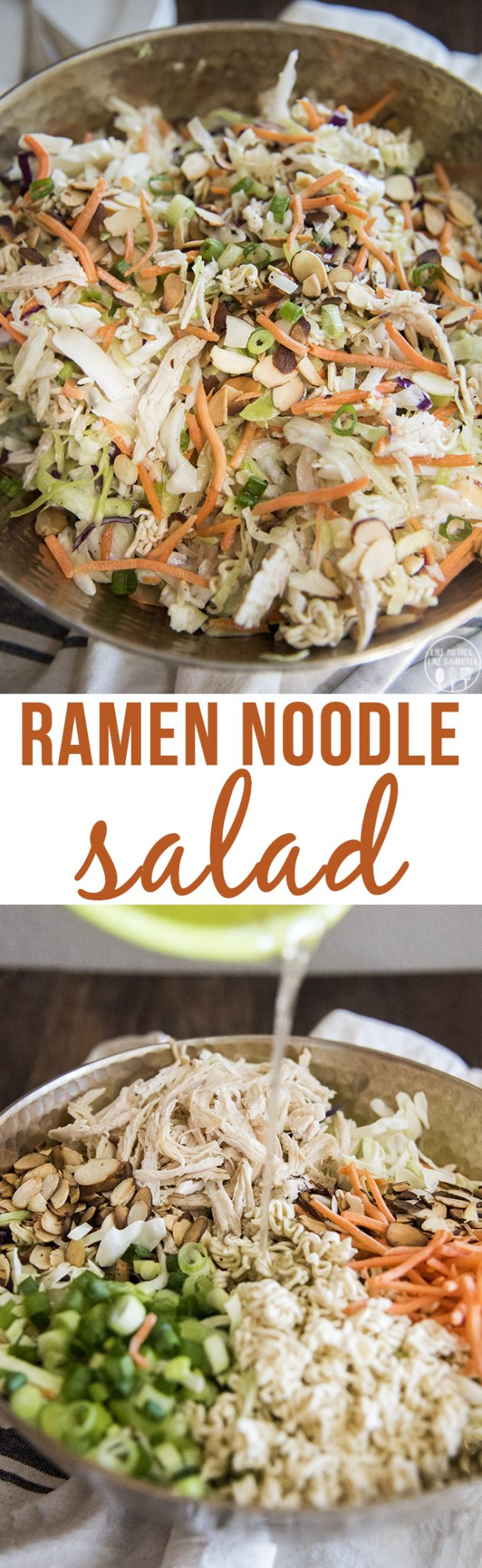 RRamen noodle salad is quick and easy to make. The crunchy salad is covered in a flavorful dressing and is perfect served at a picnic, potluck, or barbecue!