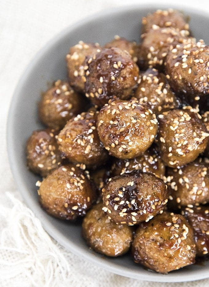 Easy teriyaki meatballs are covered in a to die for flavorful sauce. Great served as an appetizer or over rice as a main dish!