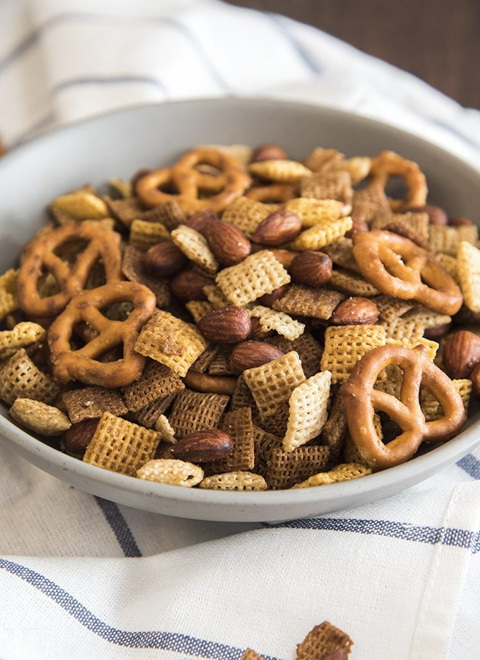 This Almond chex mix recipe  is an easy savory snack mix full of so much flavor! It tastes just like the real deal!