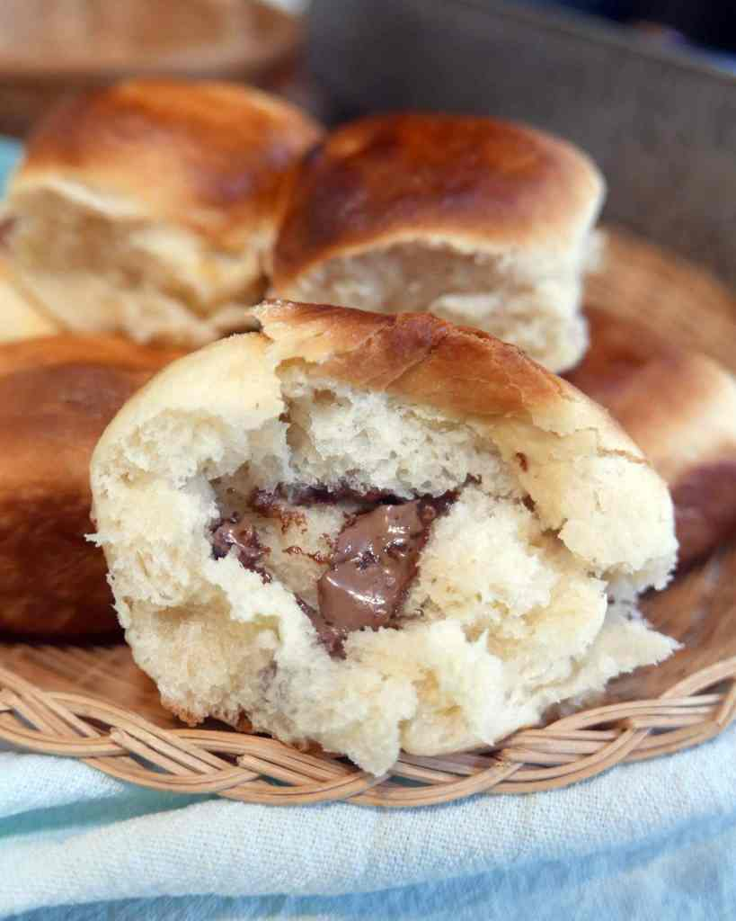 Mom Magic Rolls are a delicious sweet bread with chocolate baked inside for a melty, chocolately, delicious surprise.