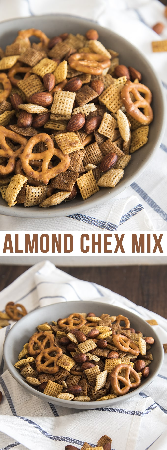 Almond chex mix is an easy savory snack mix full of so much flavor! It tastes just like the real deal!