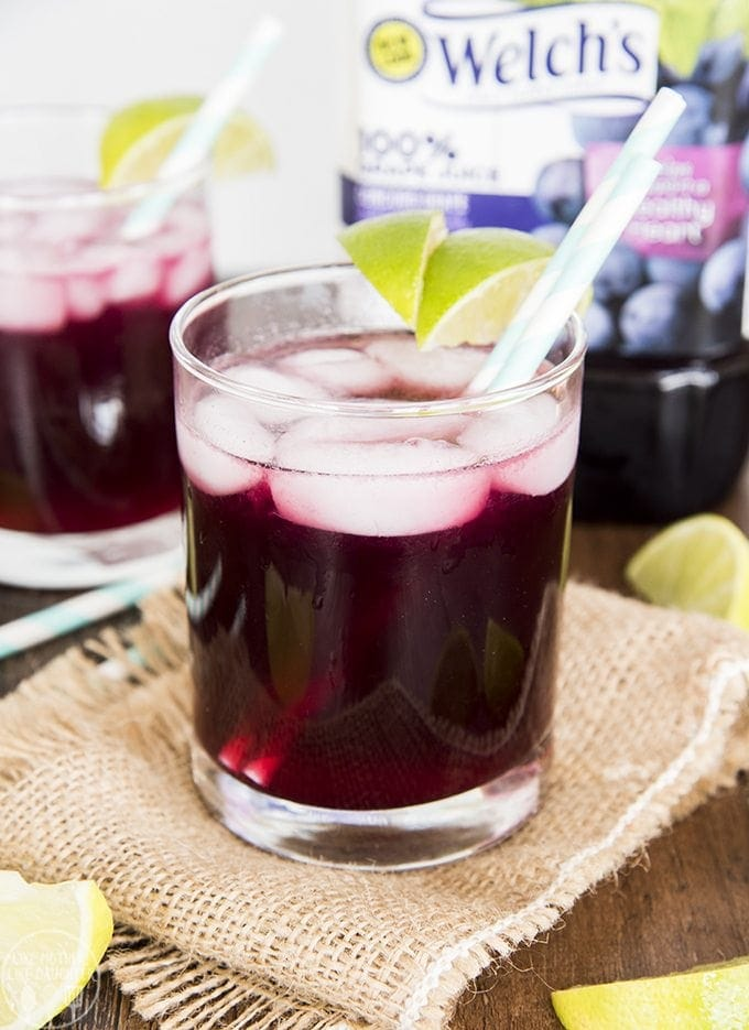 Grape Lime Ricky is a delicious grape and lime sparkling drink, made naturally with grape juice, fresh lime juice and soda water for a fun mocktail that everyone will love!