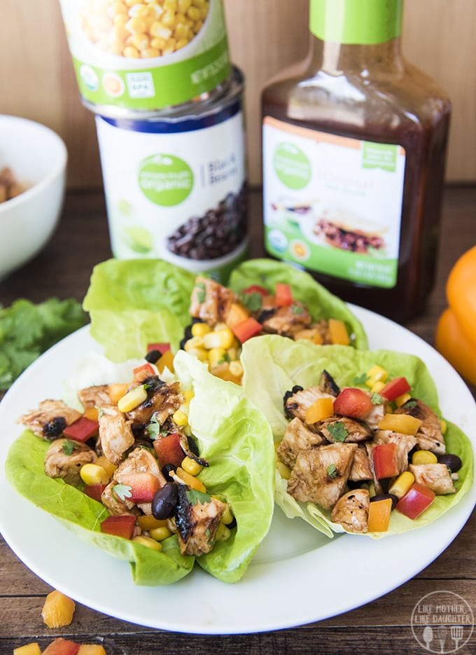 These barbecuechicken lettuce wraps are easy to make and packed full of flavor. Stuffed full of bbq chicken, corn, black beans, and bell peppers these are perfect for lunch or dinner!