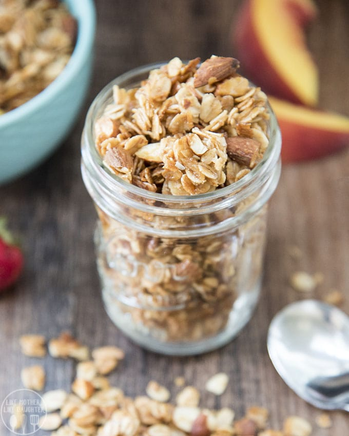 East coconut almond granola is a delicious sweet, crunchy granola, bursting full of flavor. Its perfect with milk, fruit, or yogurt, or delicious plain for a quick breakfast or snack!