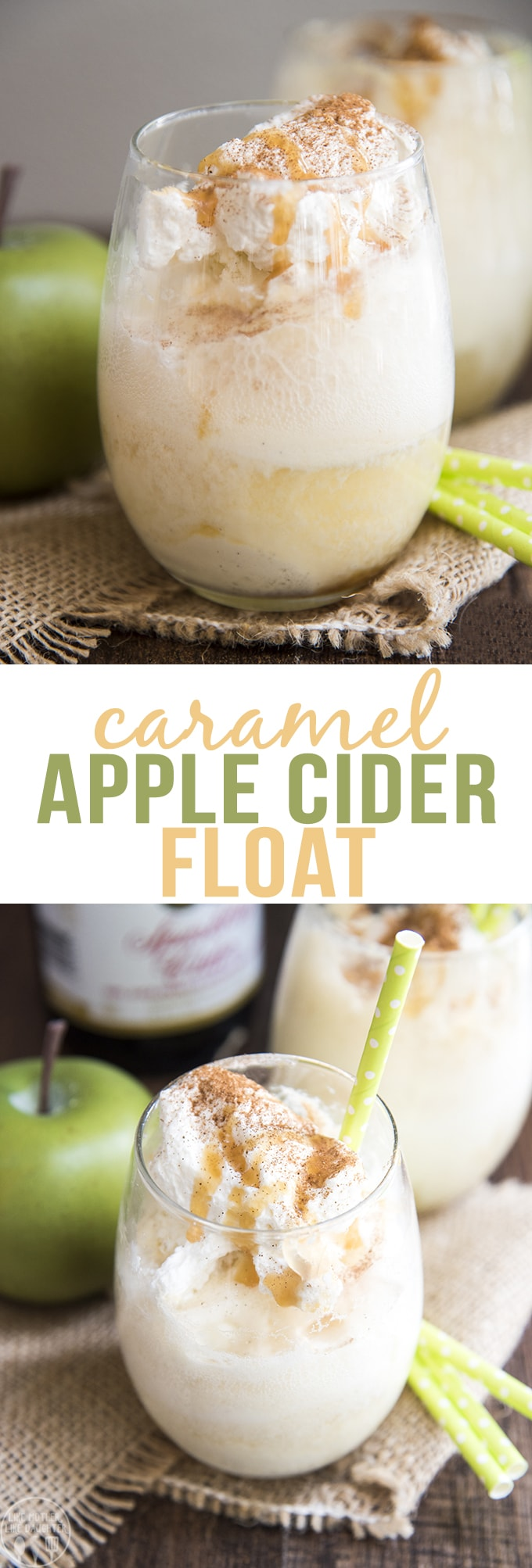 Caramel Apple Cider Floats are the perfect combination of sparkling apple cider and vanilla ice cream, topped with caramel syrup, and a dollop of whipped cream and you have the perfect drink!
