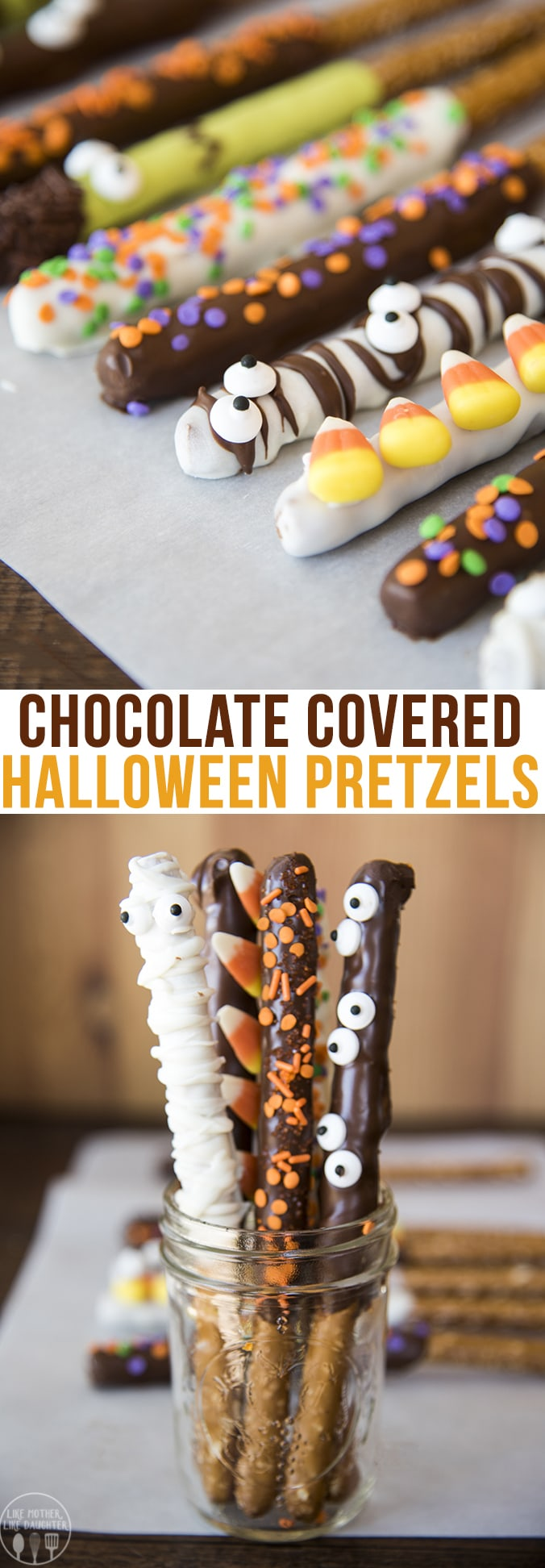 Halloween pretzels are fun and spooky chocolate covered pretzels, topped with sprinkles, candy corn, candy eyes and more to make them a perfect treat for Halloween time!
