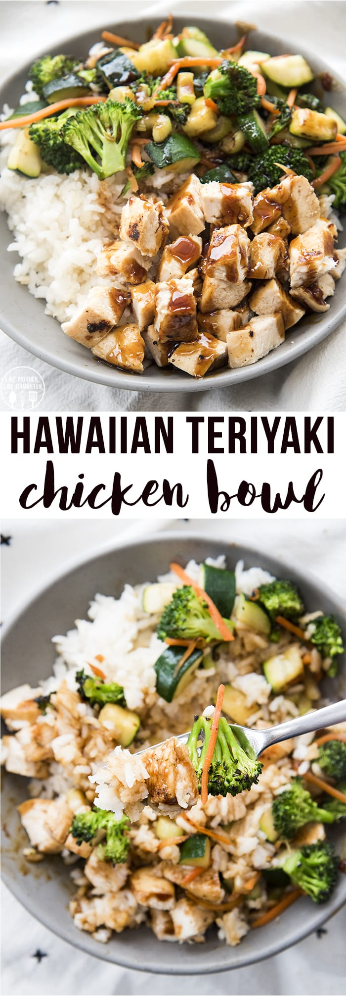 Hawaiian Teriyaki Chicken Bowls are delicious rice, chicken and veggie bowls with coconut rice, sauteed vegetables, and chicken topped with a sweet and spicy homemade teriyaki sauce!
