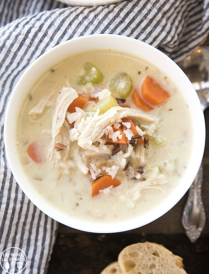 Creamy Chicken Wild Rice Soup in a white bowl