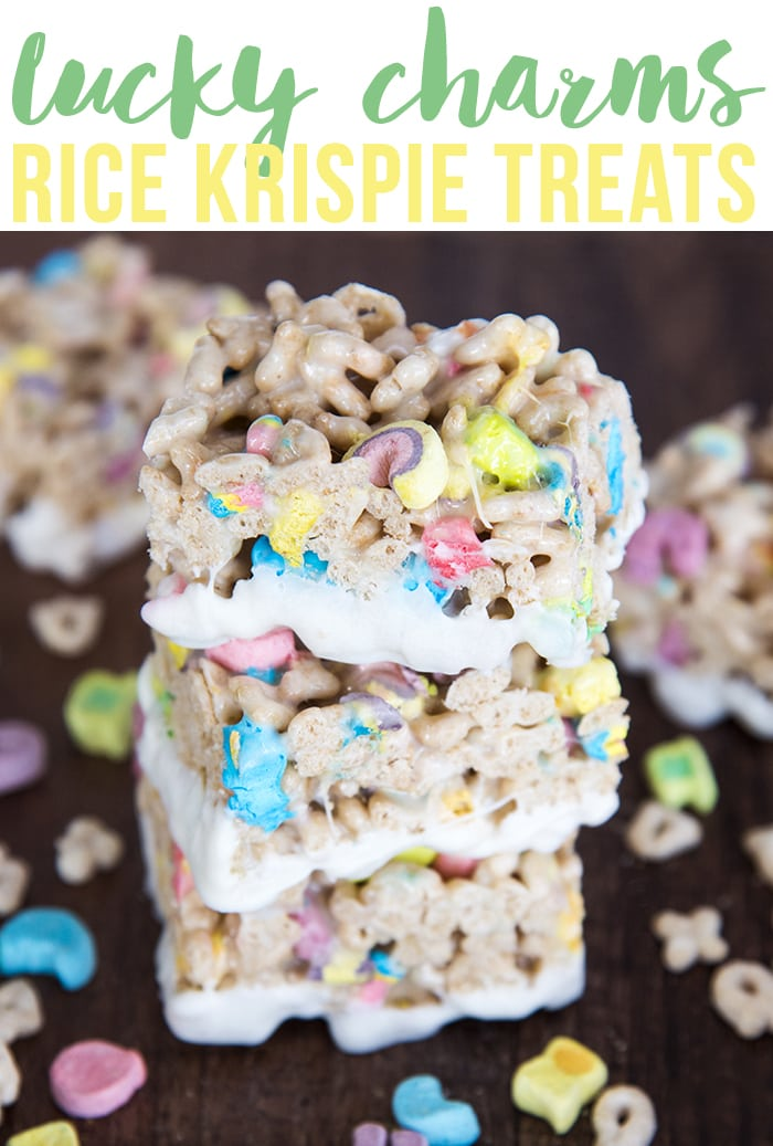 Lucky Charms Rice Krispie Treats are delicious  gooey krispie treats made with lucky charm cereal instead! Dip them in white chocolate for a super fun sweet treat!