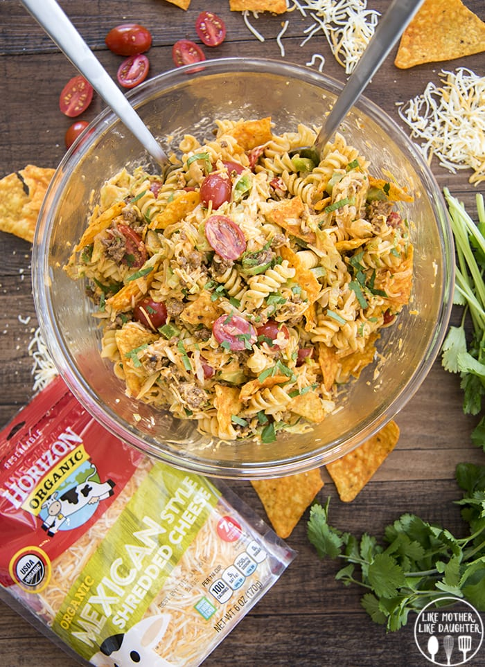 Taco Pasta Salad with crunchy Doritos