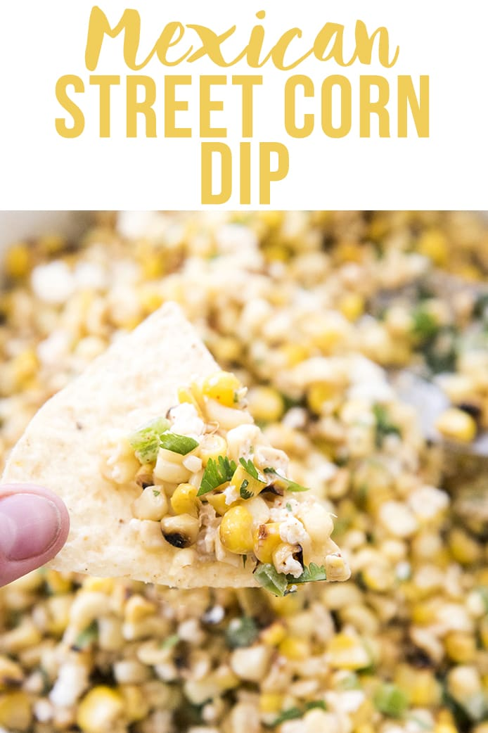 This Mexican Street Corn Dip is like traditional Mexican street corn made into the best dip. Its a delicious combination of sweet corn, cotija cheese, cilantro, and more and perfect paired with tortilla chips, or eaten on its own!