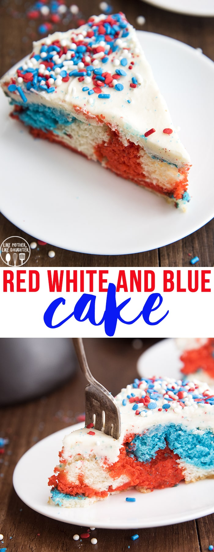 This red white and blue cake is a delicious tie dye cake topped with an easy buttercream frosting, perfect for Memorial Day or the Fourth of July!