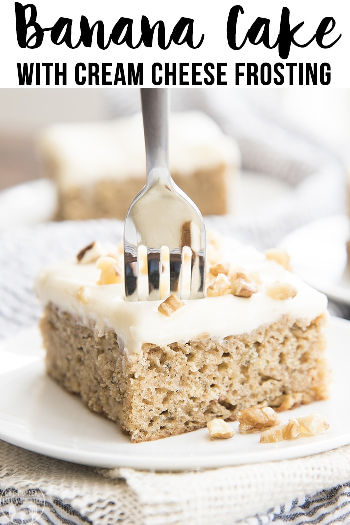 This banana cake is a sweet and moist cake, topped with a tangy sweet cream cheese frosting. Its full of fresh ripe bananas and cinnamon, made in a 9x13 pan, and so easy and delicious.