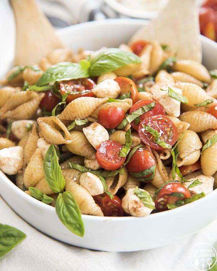 Caprese pasta salad perfect for a potluck!