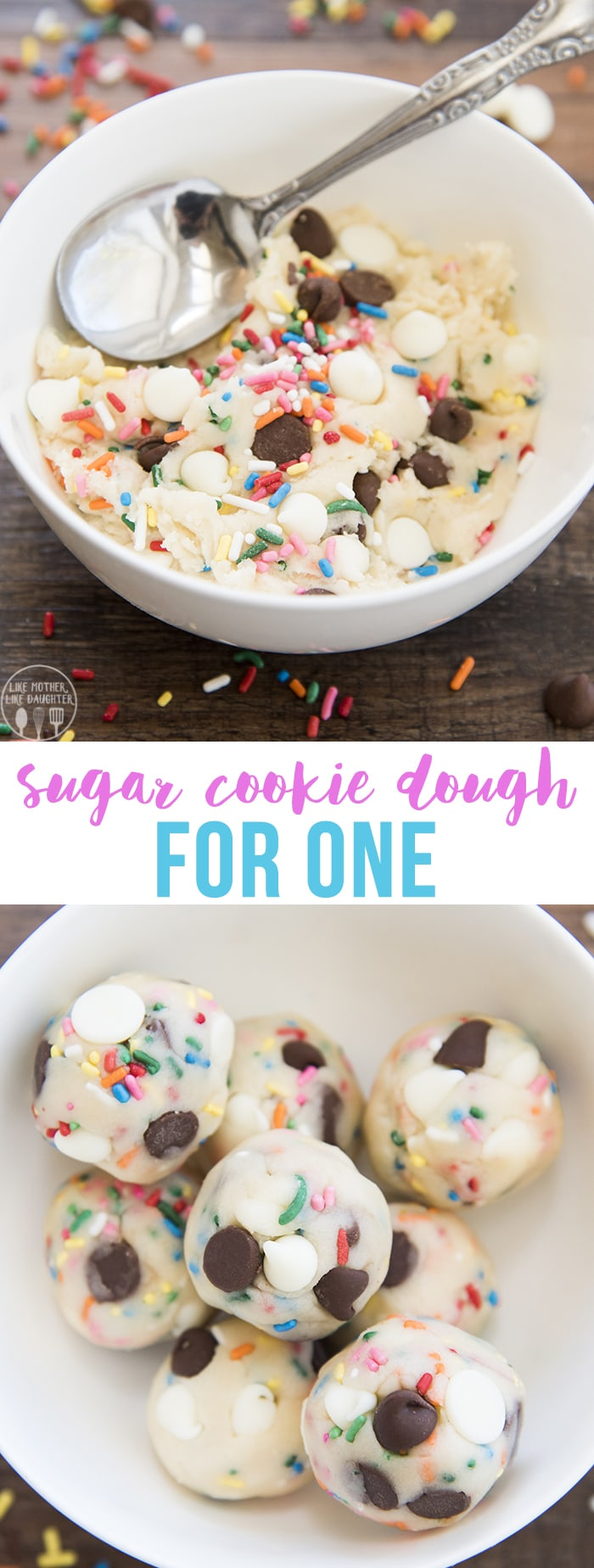 Edible Sugar Cookie Dough for one is a delicious egg free, safe, sugar cookie dough recipe that is stuffed full of sprinkles, chocolate chips, and white chocolate chips for a delicious funfetti treat!