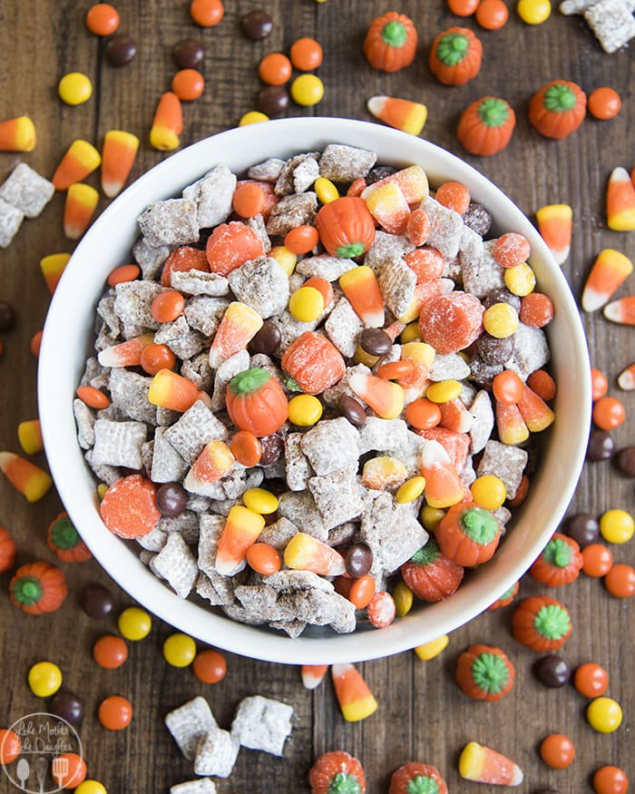 Muddy Buddies with Candy Corn for Halloween