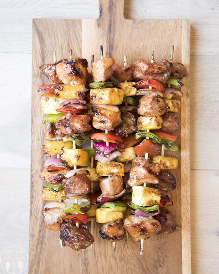 Teriyaki Kabobs with Pork, peppers, onion and pineapple!