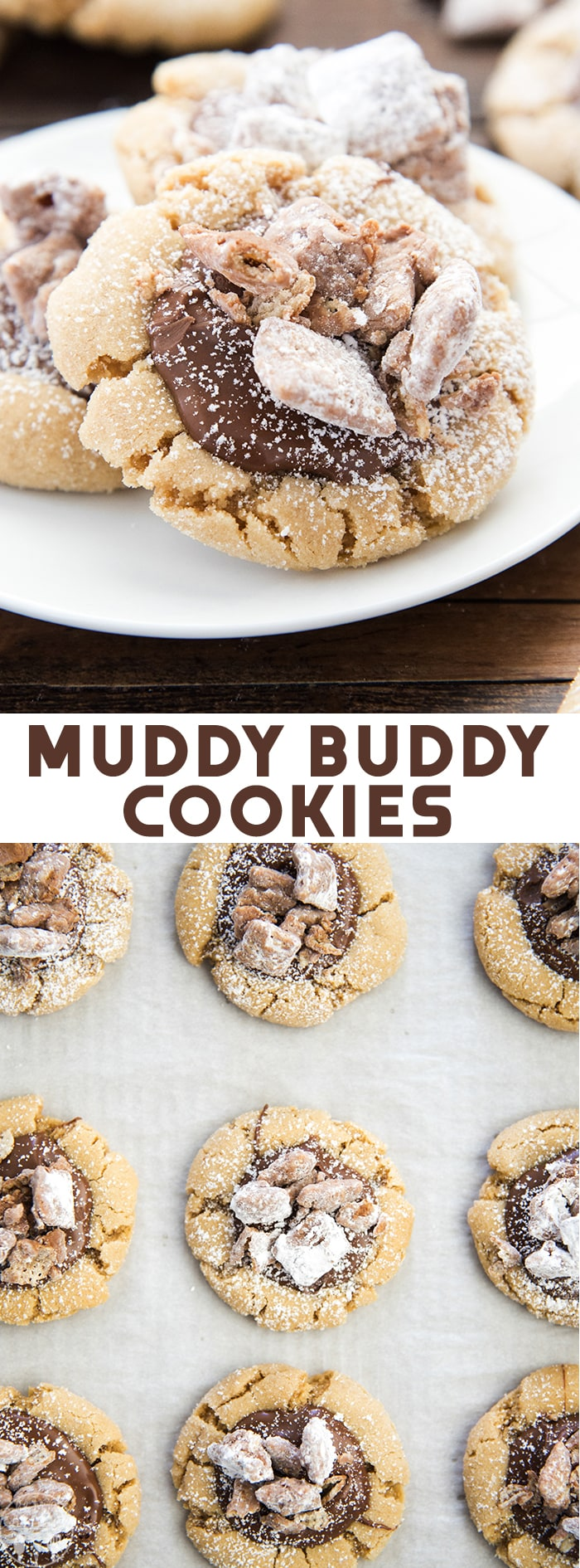 Muddy Buddy Cookies turn the popular chocolate and peanut butter snack into a delicious cookie. Soft and chewy peanut butter cookie topped with chocolate, powdered sugar and actual muddy buddies!