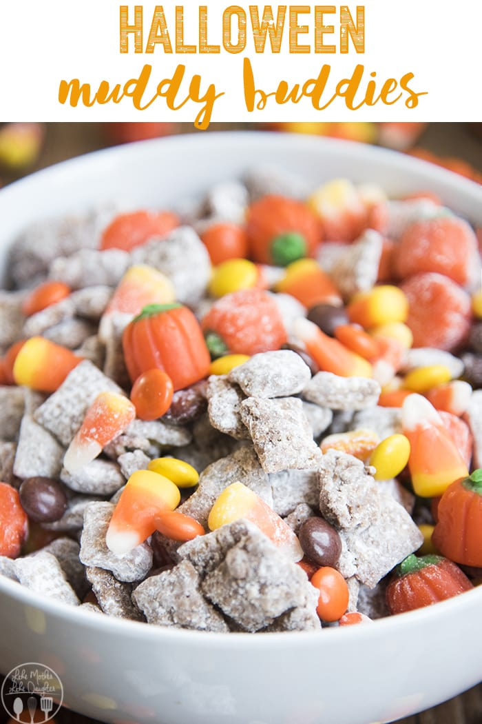 These Halloween Muddy Buddies are your favorite peanut butter chocolate snack mix, with Halloween candies mixed in! Perfect for a Halloween party!