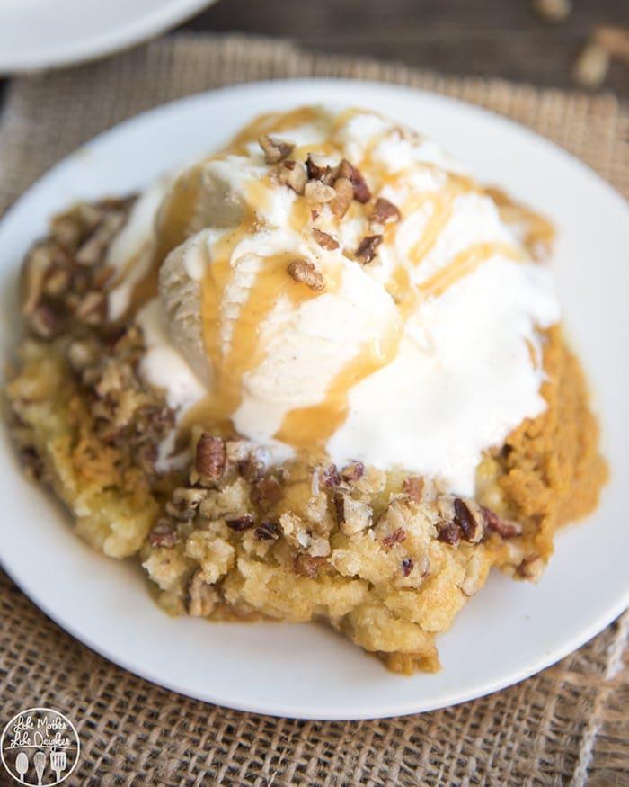 Pumpkin Cobbler is the perfect pumpkin dessert served warm with a big scoop of vanilla ice cream!