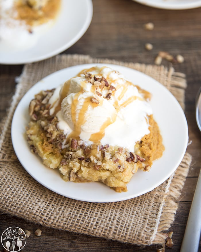 Pumpkin Cobbler is best served with ice cream on top