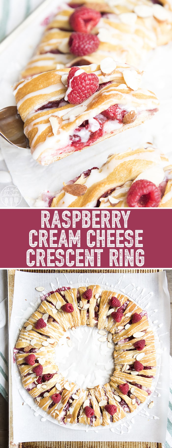 This raspberry cream cheese crescent ring is the perfect holiday breakfast! It's ready in only about 30 minutes, and is such a beautiful dish!