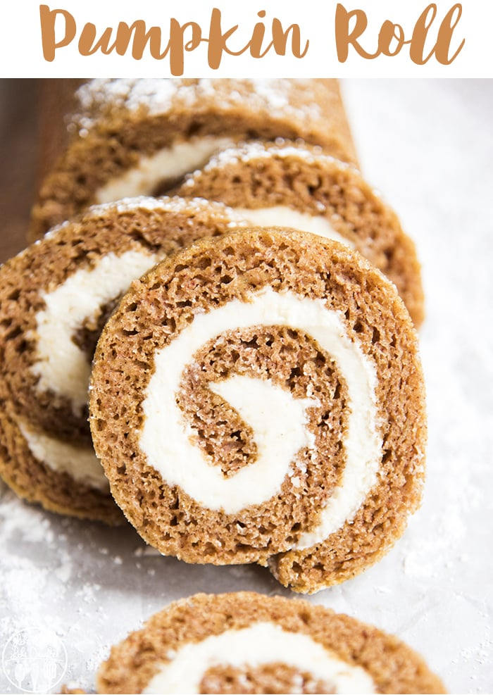 This classic pumpkin roll is so delicious and easy to make, with a light and moist pumpkin cake swirled up with cream cheese frosting. It's a perfect fall dessert!