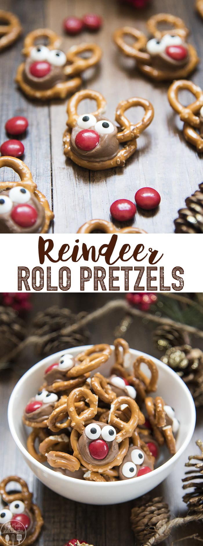 Rolo Pretzel Reindeer are not only a delicious sweet and salty treat, but they are adorable, and fun, and perfect for the Christmas season!