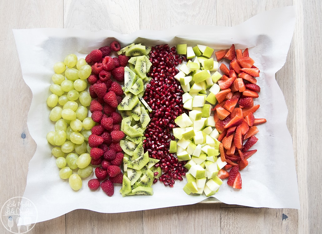 Christmas Fruit Salad with green and red fruit and a poppyseed dressing