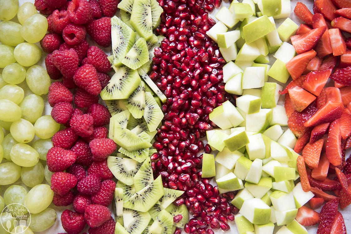 Christmas Fruit Salad with red and green fruit