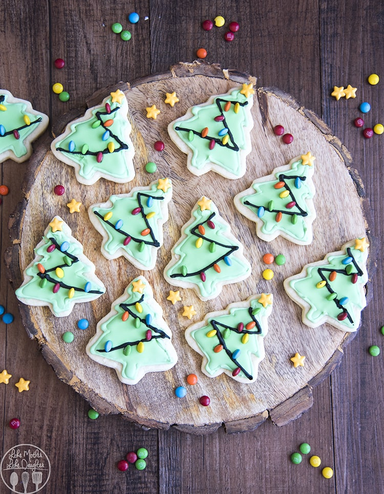 Christmas Tree Cookies with vanilla frosting or royal icing