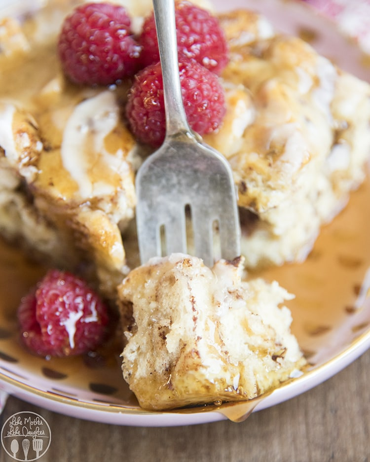 This cinnamon roll french toast bake is perfect for an easy breakfast