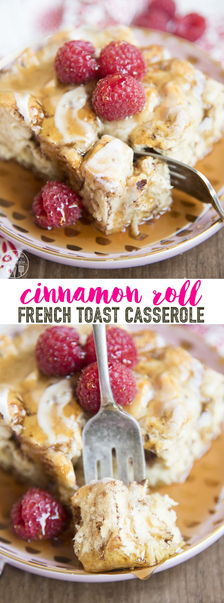 This cinnamon roll french toast casserole is the delicious mix of warm cinnamon rolls and french toast in a super easy, delicious casserole that is the perfect breakfast or brunch for the holidays!