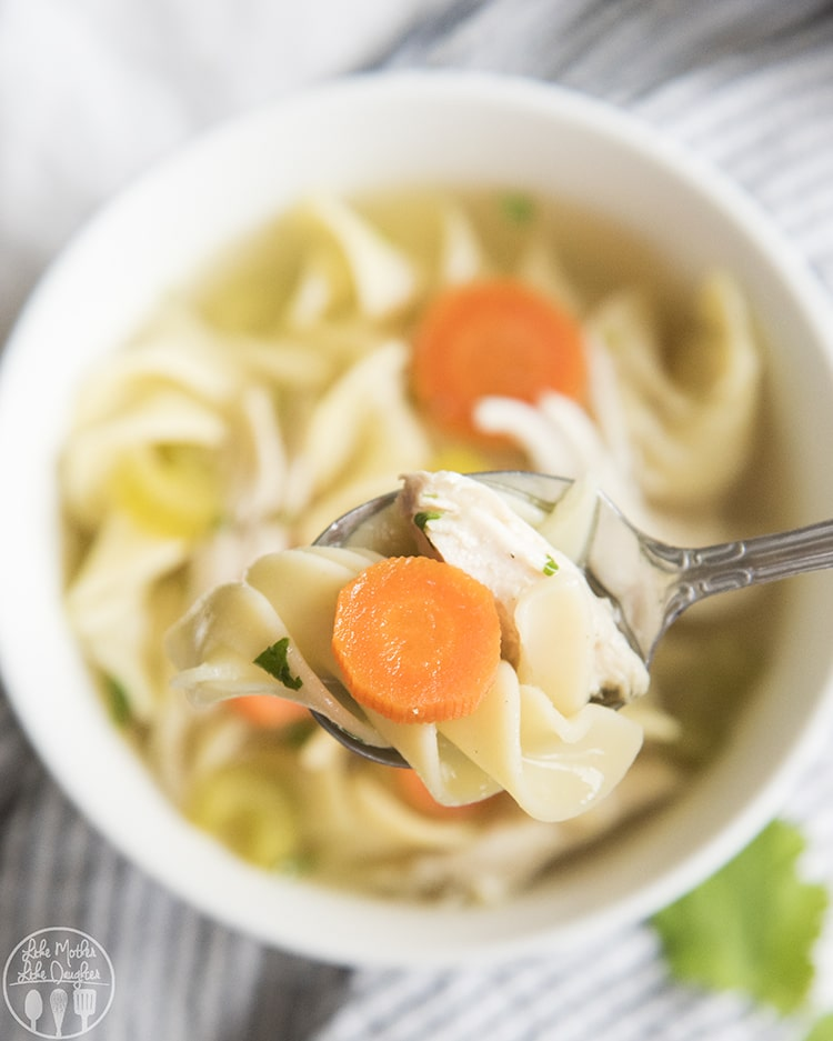 Crock pot chicken noodle soup with carrots, celery and onions and bursting with flavor