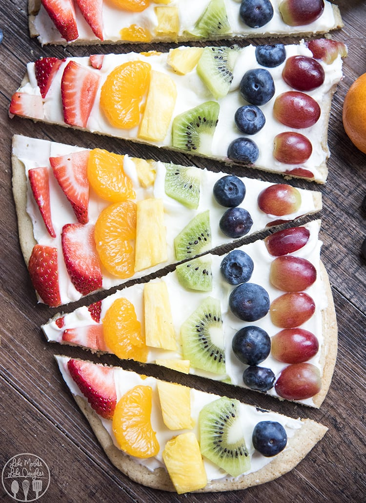 Rainbow Dessert Pizza with every color of the rainbow