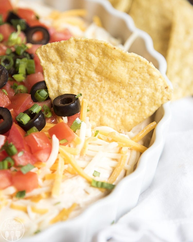 This taco dip is the perfect appetizer to serve at a party! Ready in 10 minutes, and no bake, it's perfect for a crowd!