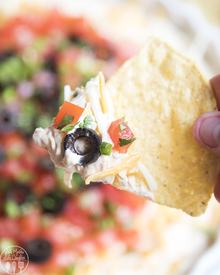 Layered taco dip with no beans