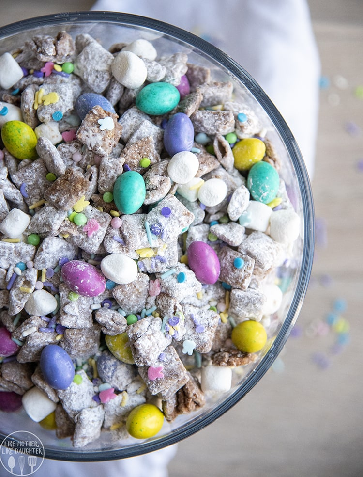 Easter Muddy Buddies with speckled egg m&ms, mini marshmallows, and sprinkles