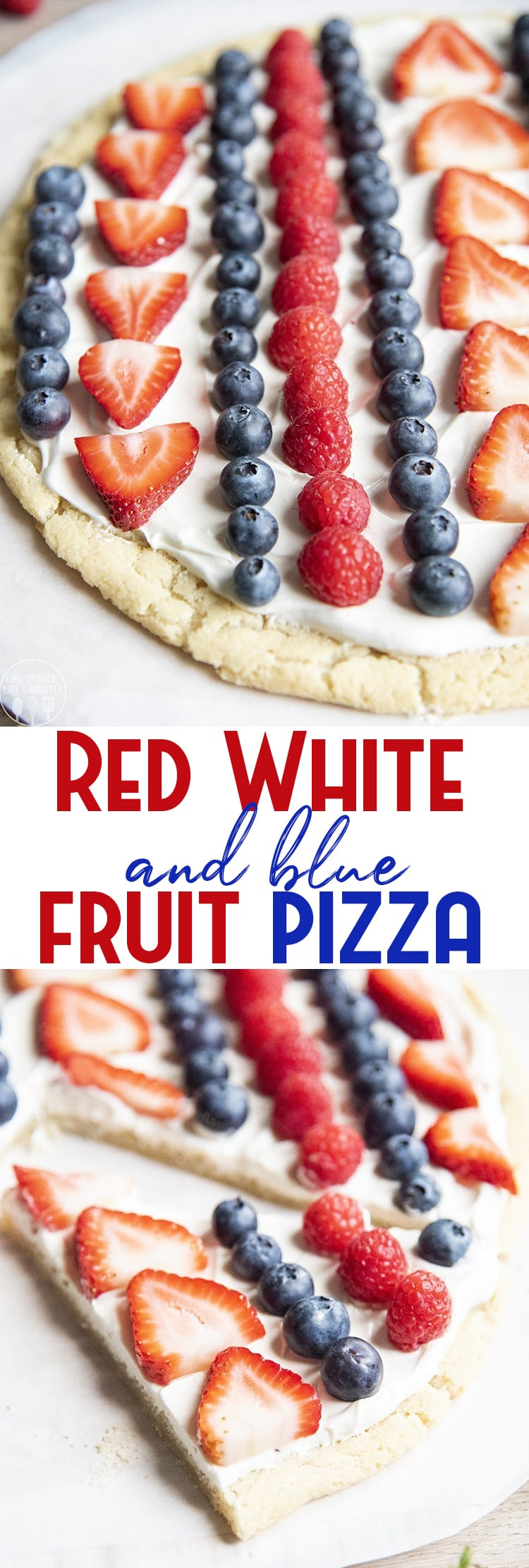 This red white and blue fruit pizza is the perfect patriotic dessert for Memorial Day, Fourth of July, or just all summer long. A sweet sugar cookie crust, topped with a cream cheese frosting, and fresh berries for the perfect sweet treat.