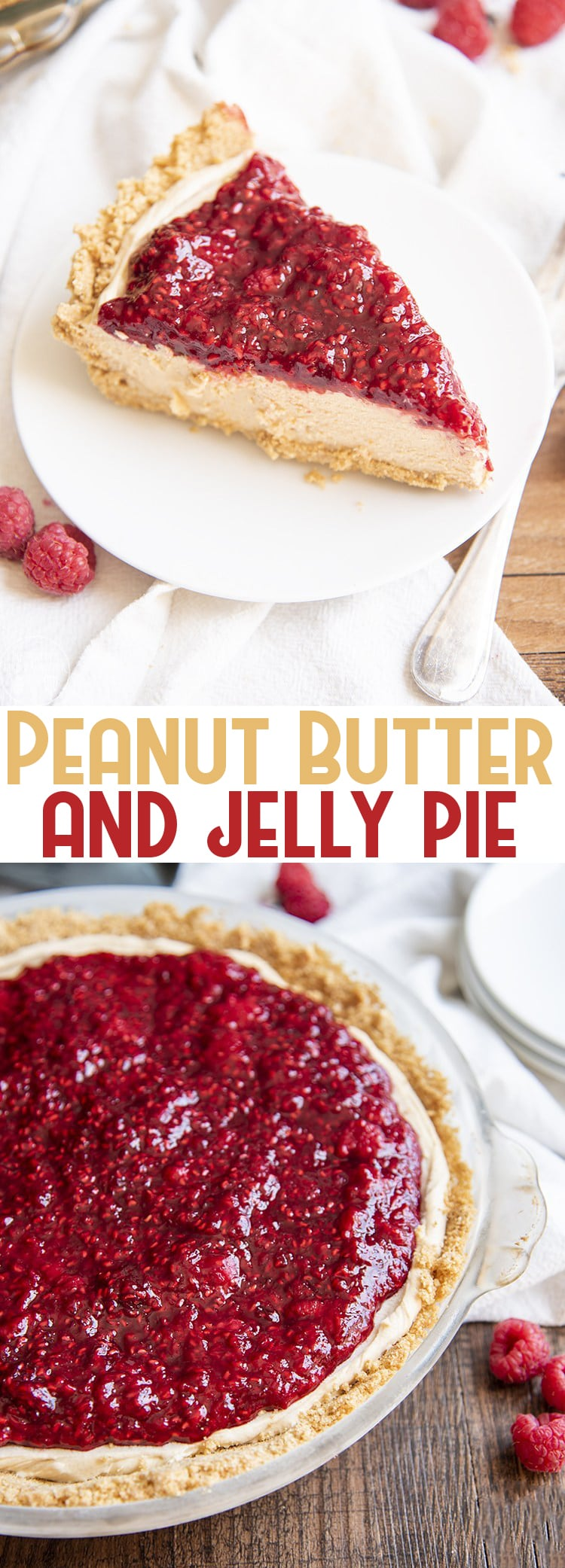 This peanut butter and jelly pie is a match made in heaven, with a creamy no bake peanut butter pie filling topped with a quick homemade raspberry jelly, this pie is a delicious combination of flavors for any occasion.#peanutbutterandjelly #peanutbutterpie #peanutbutterandjellypie