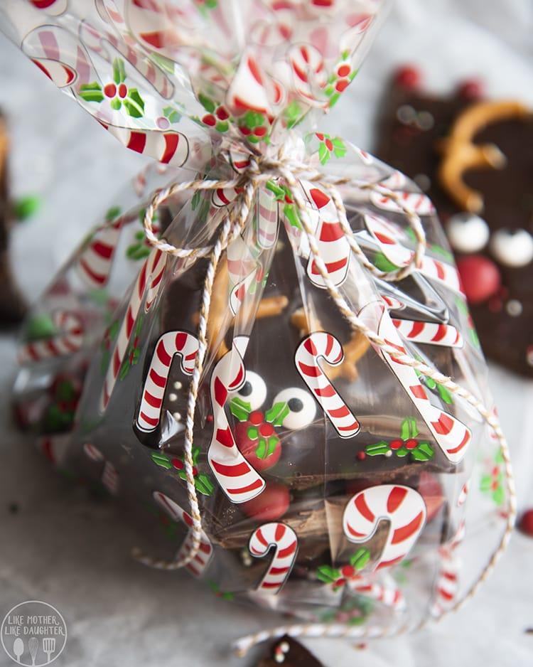 Chocolate Bark decorated to look like reindeers!