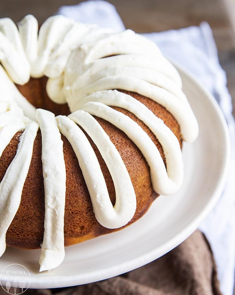 Pumpkin Bundt Cake made with a yellow cake mix