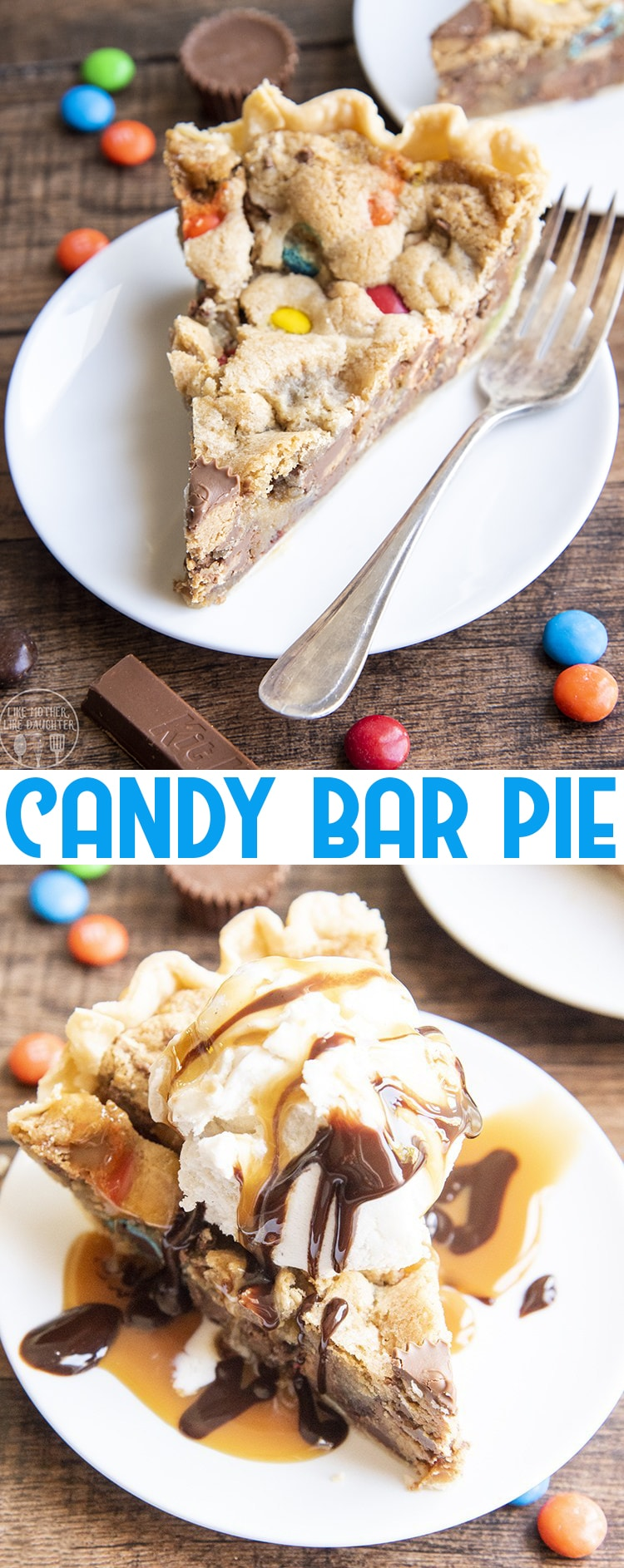 This candy bar pie is the perfect dessert to use up leftover candy. It's got a buttery pie crust, with a brown sugar cookie filling, loaded with your favorite chocolate candies!