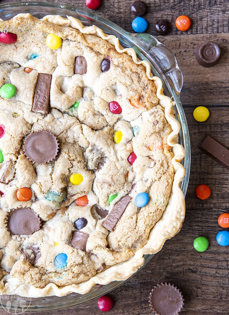 Candy Bar Pie stuffed full of candy bar pieces