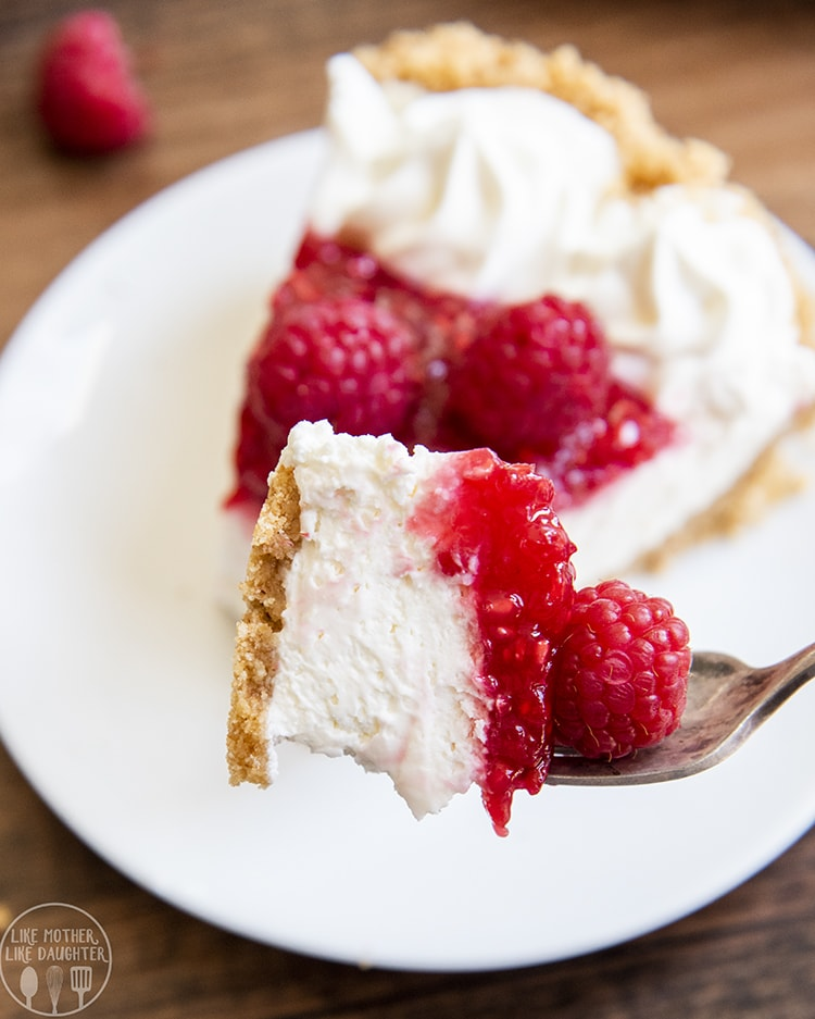 A bite of raspberry cheesecake pie is perfect for a light dessert!