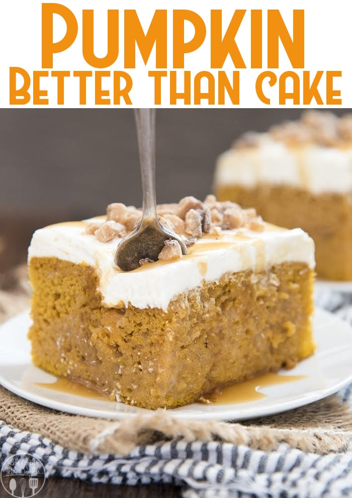 This rich pumpkin better than sex cake starts with a doctored up cake mix, for a moist cake filled with caramel, topped with the best cream cheese frosting and a crunch topping. It's a perfect better than sex pumpkin cake, that's delicious to eat all autumn long.