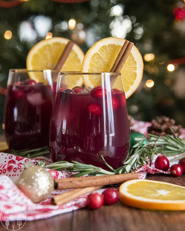 A perfect Non Alcoholic Holiday Sangria for Christmas or New Years Eve!