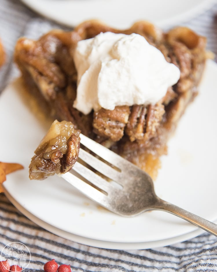 Pecan pie with whipped cream on top!