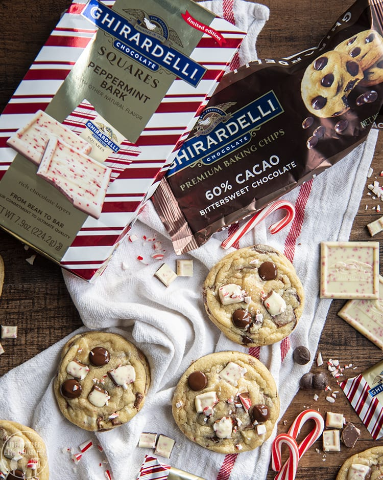 Peppermint Bark Cookies with peppermint bark in the cookies and candy cane pieces on top